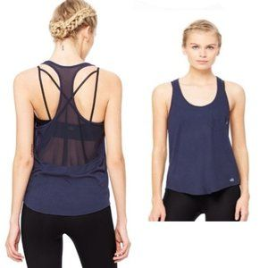 All Yoga Navy Extreme Racer Tank Top Sheer Panel